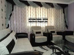 living room black design curtain style
