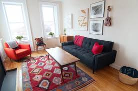 Love rich patterns, but don't want to go overboard? Opt for a statement rug  with bold colors.