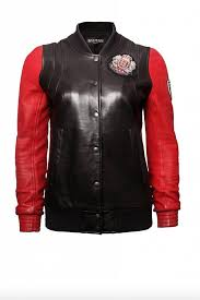 balmain balmain black leather er jacket with red sleeves in size fr36 xs