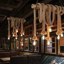 vintage rustic hemp rope 85 265v ceiling chandelier wiring creative hanging for