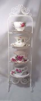 Cup And Saucer Display Stand 100 Tier TEA CUP SAUCER DISPLAY STAND Twisted Icing Wire Metal 76