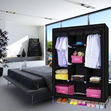 53 large portable clothes closet canvas wardrobe storage organizer with shelves