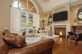 traditional living room ideas with fireplace and tv. Charming White Fireplace With Modern TV For Traditional Living Room Ideas Sheer Curtain And Deep Brown Sofa Tv O