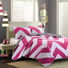hot pink white large chevron bedding teen girl twin xl full queen comforter quilt duvet cover set