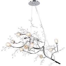new 47 12 light oval shaped tree twig branch flower crystal chandelier chromeceiling lights