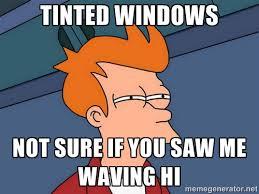 Tinted windows Not sure if you saw me waving hi - Futurama Fry ... via Relatably.com
