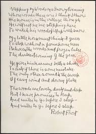 "interpreting robert frost s ""stopping by woods"" poemshape  stopping by woods manuscript"