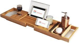 Bath Tray Bamboo Bathtub Caddy Bath Book Holder Bathroom Bathtub Tray