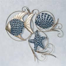 ocean gems wall art platinum on fish swirl metal wall art with ocean gems fish and seashell metal wall art