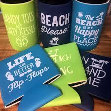 Beach Koozie Designs 6 Pack Beach Themed Neoprene Drink Cooler Sleeve