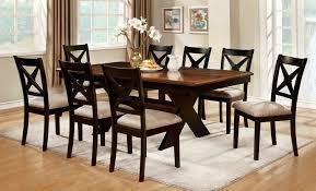 cm3776t 7pc 7 pc liberta dark oak and black finish wood cross leg pedestal dining table set