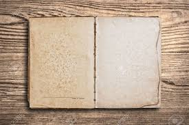 stock photo vine book with blank pages over an old wooden table