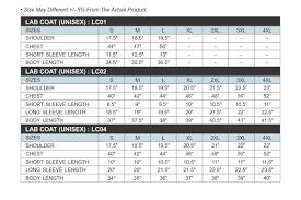 Unisex Lab Coat Size Chart Lab Coat Size Chart Singlomax Apparel