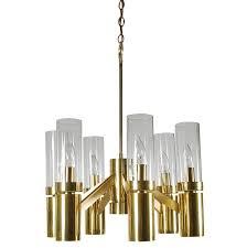 mid century modern tubular brass and glass chandelier by sciolari for lightolier for