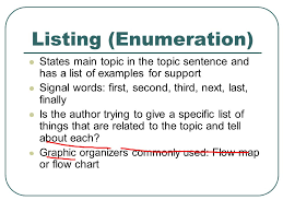 text structures patterns organization of expository text ppt  listing enumeration states main topic in the topic sentence and has a list of