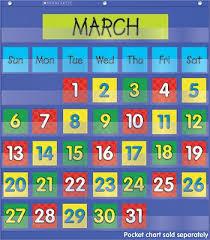 Yellow Calendar Pocket Chart Amazon Com Calendar Dates Pocket Chart Add Ons Home