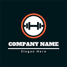 abstract yellow muscle men orange circle and fitness equipment logo design