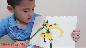 cách vẽ và tô màu Pokemon huyền thoại Zeraora dễ nhất - YouTube