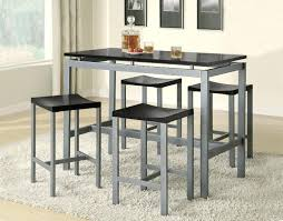 contemporary dining room design with 5 pieces metal high top table in bar dining table set