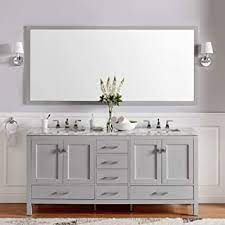 Amazon Com Eviva Evvn412 72gr Aberdeen 72 Inch Gray Transitional Double White Carrara Marble Countertop And Undermount Porcelain Sinks Bathroom Vanities 72 Grey Furniture Decor