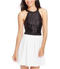 B Darlin Dress Size Chart Details About B Darlin Womens Sequined Fit Flare Dress Ivoryblack 5 6 Juniors