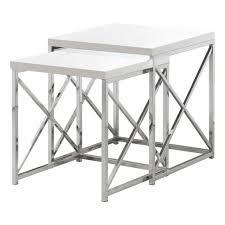 chrome metal 2pcs nesting table set for