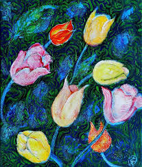 tulip painting tulips a bit in van gogh style by ion vincent danu