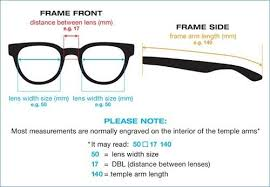 Sunglasses Frame Size Chart Glasses And Sunglasses Frame Size Guide Distance Between