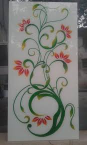 Flower Design Glass Door Lacquered Glass Design In 2019 Glass Painting Designs