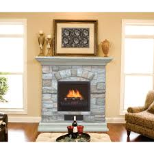 full image for castlecreek electric stone fireplace heater stacked white surrounds paired stained hardwood mantel shelf
