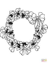 Xmas Wreath Coloring Page 1 With Christmas Wreath Coloring Pages