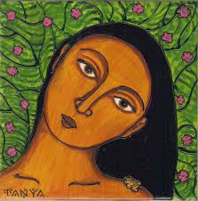 taína spirit of the coquí acrylic on tile 6 x 6 2016
