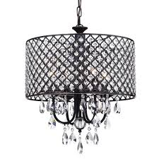 marya 4 light brushed bronze round drum crystal chandelier ceiling fixture