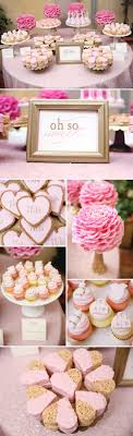 A Feminine, Elegant Baby Shower in Pink and Gold.would change a few things  but a great idea for dessert table