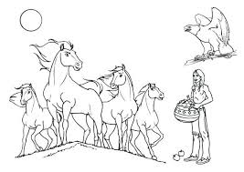 Indian Color Pages Horse Horses Coloring Page Horses Coloring Size