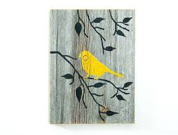 barnwood wall art reclaimed hand painted wood wall art rustic art yellow bird on branch reclaimed on hand painted wood wall art with barnwood wall art reclaimed hand painted wood wall art rustic art