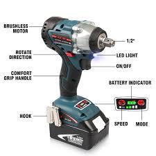 Makita Cordless Light Energy Tech 20 Pack 18v Impact Wrench Brushless Motor With