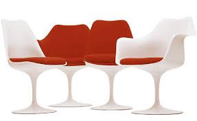 Furniture Accessories:Cream Modern Tulip Chair On Wooden Floor Comfortable  White Red Saarinean Tuli Arm