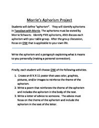 tuesday morrie s enrichment activity enrichment activities  this assignment focuses on using aphorisms from tuesdays morrie to allow the students to make