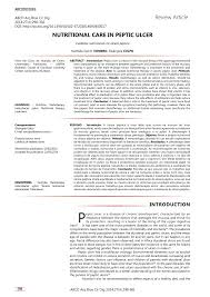 Pdf Nutritional Care In Peptic Ulcer