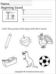 These specific word families have been chosen to help your kindergarten students sound out the short vowel sounds, as well as identify common pairings they are likely to see during their kindergarten year. Free Beginning Sounds Worksheet Letter T Free4classrooms