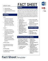 Fact Sheet Template Microsoft Word Company Fact Sheet Template Ceansin Me
