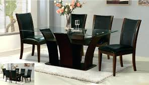 glass top dining tables with wood base oval gla top dining table beautiful with wood base