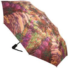 galleria art print auto open close folding umbrella garden path at giverny by monet