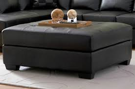 Darie Black Leather Ottoman - Steal-A-Sofa Furniture Outlet Los Angeles CA