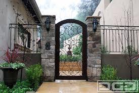 front door gateMediterranean Garage Doors With Matching Wood  Wrought Iron