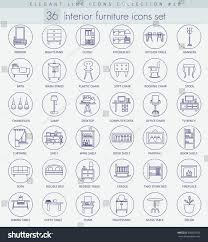 stock vector vector home furniture outline icon set elegant thin line style design