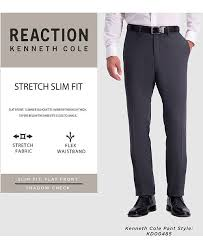 Kenneth Cole Pants Size Chart Mens Slim Fit Shadow Check Dress Pants