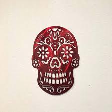 sugar skull wall art image 0 metal pink