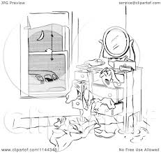 dresser clipart black and white. cartoon of a black and white man franticaly searching his dresser as car pool ride waits - royalty free vector clipart by picsburg s